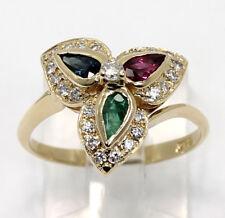 Diamond ruby emerald sapphire flower ring 14K Y/ gold pear round brilliant .95CT