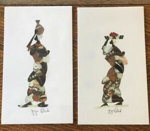 """Set of 2 African Art Butterfly Wings Mosaic Collage Women Signed 12"""" X 7"""""""