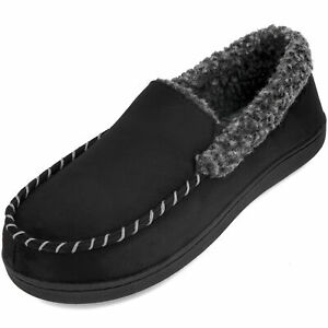 Men's Comfort Memory Foam Moccasin Slippers Fuzzy Fleece Warm Home House Shoes