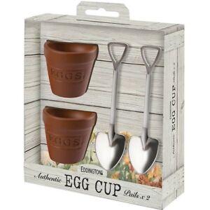 Flower Pot Set of 2 Egg Cups & Spoons