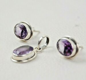 925 Sterling Silver Natural Amethyst Fine Jewelry Set Women Girl SET-1007 Gift