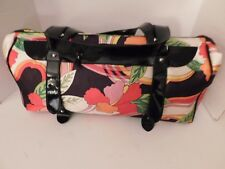 """AMERICANA BY SHARIF POLYESTER DUFFLE BAG WITH PATENT LEATHER TRIM 21"""" X 11 1/2"""""""