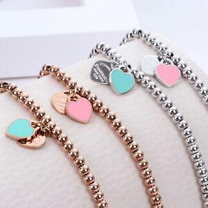 Charm Women Stainless Steel Ball Chain Enamel Heart Bracelet Bangle Jewelry Girl
