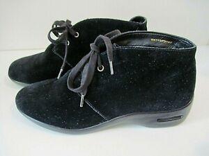 Cole Haan Nke Air Black Suede Ankle boots Bootie Wedge Heel Waterproof Size 9 B