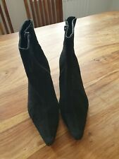 Black Suede Ladies Ankle Boots Size 4