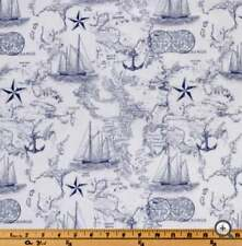 White Navy Map, Nautical, Cotton Fabric, Fat Quarter, FQ 18