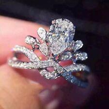 Women 925 Sterling Silver Pear Cut Diamonique CZ Wedding Rings Engagement #8