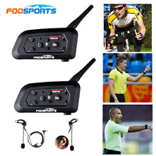 2x 1200M V6 BT Motorcycle Intercom Bluetooth Interphone Referee Headset Earphone