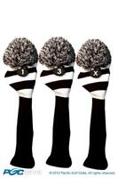 Tour 1 3 X Driver Fairway Wood Black & White Golf Headcover Knit Pom Pom Cover