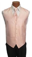 Large Mens Peach Cardi Venetian Wedding Prom Fullback Tuxedo Vest w/ Tie Formal