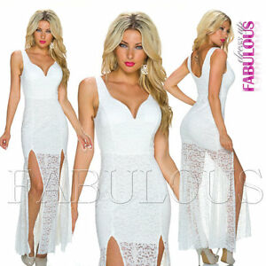 New European Floral Lace Front Split Maxi Dress Size 8 10 S M Christmas Formal