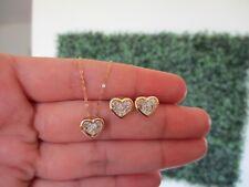 .06 CTW Dancing Diamond Heart Earrings&Necklace Set 18k Twotone Gold DDS03 sep