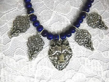 WILD WOLF HEAD USA PEWTER PENDANT & 4 CELTIC WOLVES CHARMS BEADED ADJ NECKLACE