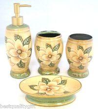NEW BEIGE+GREEN FLOWER CERAMIC BATHROOM SOAP DISPENSER+DISH+TOOTHBRUSH+TUMBLER