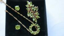 "Yellow Gold On 925 Sterling Silver Peridot Ring 29"" Chain Necklace Earrings Set"