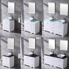Optional Bathroom Vanity Cabinet Ceramic Vessel Sink Set Free Combination White