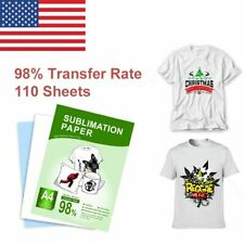 110 Sheets Dye Heat Sublimation Transfer Paper A4 T Shirts Cotton Polyester Mugs