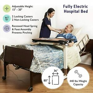 Full Electric Hospital Bed PKG With Mattress and Rails Fully Adj. Home Care Use