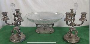 wilcox silverplate 3 pc set cherubs 2 Candelabra And Centerpiece