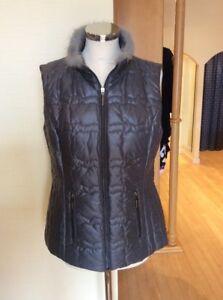 Faber Gilet Size 12 BNWT Grey With Fur Trim RRP £205 Now £59