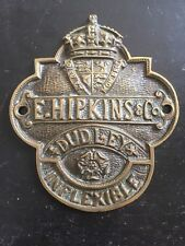 "⭐ ancienne vintage antique ""E. HIPKINS & Co"" Genuine Brass Safe plaque ⭐"