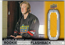 RARE! CHARLIE McAVOY 2018/19 UD SERIES 2 ROOKIE PHOTOSHOOT FLASHBACK MATERIALS