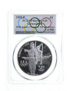 1995 Gymnastics Olympic $1 Silver Commemorative PR69 Spl Lbl 1 of 500 PCGS *0294