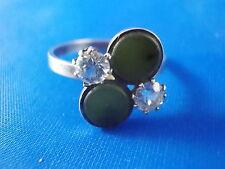 Design Ring 835 Silber Jade und klaren Steinen vintage Ø17mm Modernist 60er/70er
