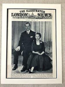 1952 Queen Elizabeth II Prince Philip Duke of Edinburgh Original Vintage Print
