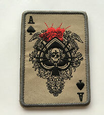 ACE OF SPADES DEATH SKULL CARD USA ARMY TACTICAL MORALE    PATCH  sk+516