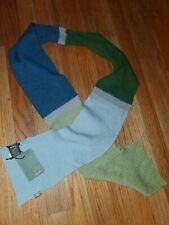 New~ Eddie Bauer 100% Merino Wool Scarf multi color Blue/Green grey stripe