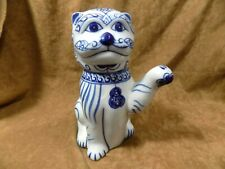 BLUE AND WHITE FIGURAL TEA POTS---CAT WITH PAW UP