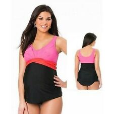 MOTHERHOOD MATERNITY SWIMSUIT COLOR-BLOCK PINK/ORANGE/BLK SIZE MED 8-10 NEW/TAGS