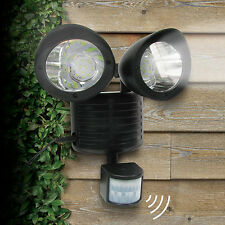 Motion Sensor Solar Spot Light Dual Head Security Floodlight 22 LED Outdoor BLK*