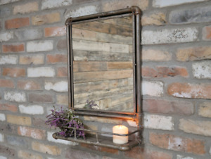Industrial Pipework Mirror With Shelf
