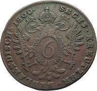 1800B AUSTRIA w Emperor Franz II Hapsburg Antique 6 Kreuzer Austrian Coin i78596