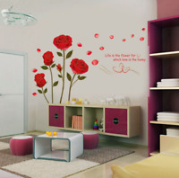 Removable Red Rose Wall Decal Mural Flowers Wall Sticker Vinyl Art Home Decor