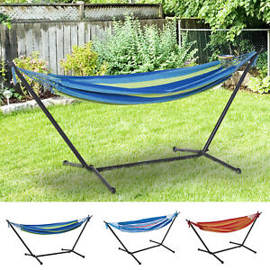277 x 121cm Hammock with Metal Stand Portable Carrying Bag 120kg