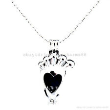 L10 Bright Silver Foot Print Baby Locket Necklace Pearl Cage Pendant Perfume