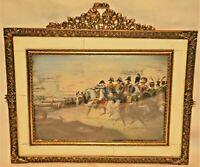 Antique Napoleon Military War Battlefield Horse Portrait Miniature Oil Painting