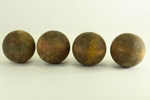 = Antique Set of Four Early Croquet Balls, Lathe Turned Hard Wood