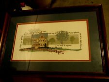 """Complete/ cross stitched/ """"I hear your footsteps/ down the hall a house/ w"""