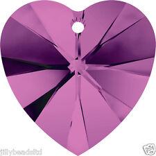 Swarovski 6228 Xilion Heart Pendant Amethyst Pack of 4