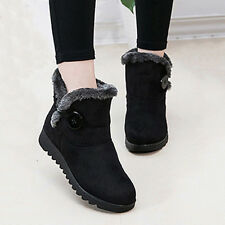 Winter Warm Women Ladies Fur Ankle Boots Wedge Snow Boots Flat Low Heel Shoes