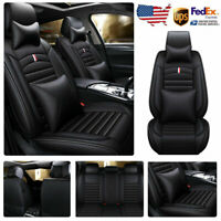Top Leather 5-Seats Car Seat Cover Full Set Deluxe Truck SUV Cushion Universal