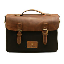 Cactus - Satchel Style Messenger Bag with Brown Leather Flap in Black Canvas