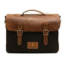 CACTUS-Borsa a Tracolla Stile Messenger Bag con marrone pelle patta IN TELA NERA