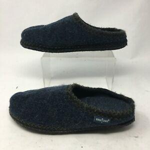 Minnetonka Womens 9.5-10.5 XL Winslet Slip On Mule Slippers Blue Fleece 44014