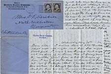 USA 1892 WESTERN ELECTRIC CO ENV + LETTER re HORSES to VERMONT