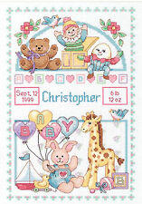 Cross Stitch Kit ~ Dimensions Stuffed Animals Toys Baby Birth Record #13650